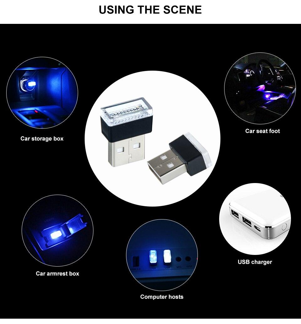Mini Wireless Car Atmosphere Light LED USB Night Light Cigarette Lighter Decorative Lights Car Styling Truck PC Laptops Kit (2)