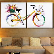 WANGART Nordic Wall Art Decorative Paintings 2 pieces Beautiful Bike Still Life Canvas Pictures for Bedroom Acrylic Painting(China)