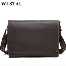 WESTAL Crazy Horse Genuine Leather Men Bag Men's Leather Bag Men Messenger Bags Shoulder Crossbody Bags Man Handbag Briefcase