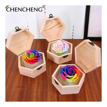 Rose rose flower Premium Wood Artificial Rose Flower Valentine gift box decoration box Wedding decorations Home CHENCHENG(China)
