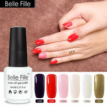 Belle Fille 8ml Colour Gel UV Decoration Nails Art Purple Red Pink Nude khaki Golden Nail Polish Gold Glitter Nail Gel Polish(China)