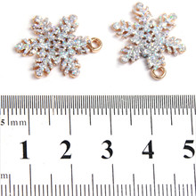 10pcs/lot Romantic Snowflake Gold-plated Shimmering Powder Charms Alloy Pendants Fashion Accessories Jewelry 21x17x2mm 148066