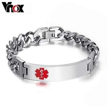 Vnox recordar pulsera y brazaletes de identificación médica personalizada etiqueta grabada nombre de cadena de acero inoxidable para las mujeres/hombres
