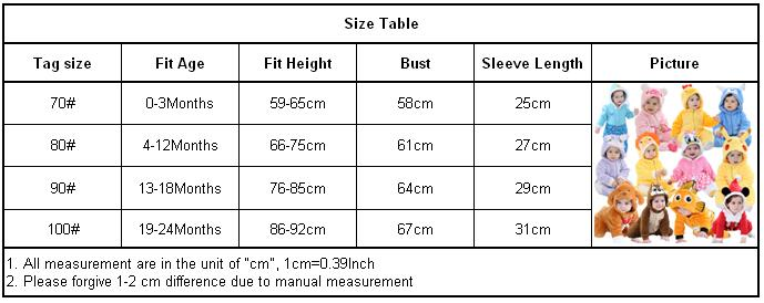 New romper size chart