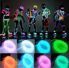 Newest 3M Flexible Led Neon Light Glow EL Wire Rope Tube Cable+Battery Controller Water Resistant LED Shoes Clothing Light