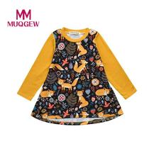 MUQGEW Dresses For Girl Toddler Kids Baby Girls Cartoon Fox Print Sun Dress Clothes Outfits New Spring Fashion Cotton dresses(China)