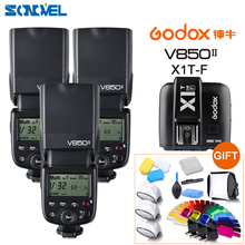 FREE DHL 3x Godox V850II GN60 HSS 2.4G Wireless X System Flash Speedlite Li-ion battery + X1T-F Transmitter For Fujifilm Fuji(China)