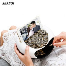 SEREQI Multifunctional Food Snack Storage Box Double Deck Round Plastic Desktop Garbage Storage Case Organizer Cell Phone Holder(China)