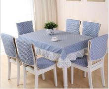 Korean style plaid tablecloth set suit 130*180cm table cloth matching chair cover 1 set price 2colors free ship