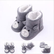 Kids Winter Booties Boys Thick Warm Baby Shoes Toddler Baby Boots Booty Newborn Cotton Snow Knit Cartoon Shoe Girls First Walker(China)