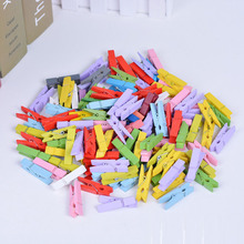 50 PCS/set Mini Colored Spring 35mm Wood Clips Clothes Photo Paper Peg Pin Clothespin Craft Clips Party Decoration