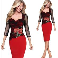 Top Quality Summer Dress 2017 5XL lace Floral Embroidery Pencil Dress Women Tunic Casual Office Party Evening Wear Bodycon Dress