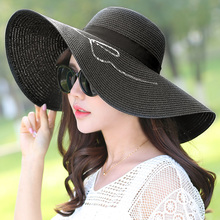 flower foldable topee ethnic style all-match pleasantly cool sun hat sandy beach cap fashion big blue bow