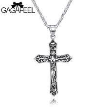 GAGAFEEL Laser Engrave Custom Name Jesus Cross Men Necklace Jewelry Stainless Steel Pendant Religious Vintage Choker Male Gift(China)