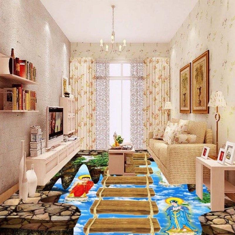 Free Shipping Walkway Showroom Living Room Sky Bridge 3D Floor Self-adhesive home decoration non-slip flooring wallpaper mural<br>