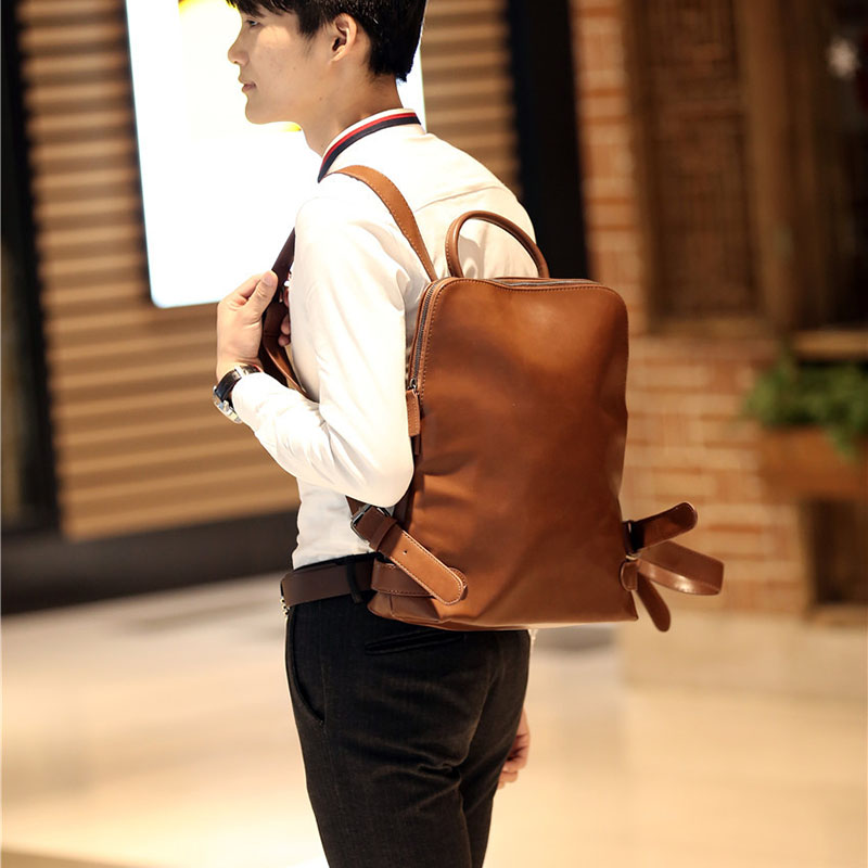 ETONWEAG Brands Cow Leather Schoolbag Backpack Brown Vintage School Bags For Men Zipper Laptop Bag Travel Luggage Back To School<br>