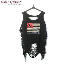 women tank top american military clothing fashion women 2017 tassel fringe broken hole crop sweatshirt free size NN0718 HQ