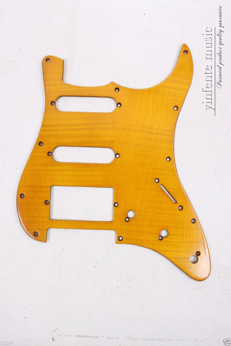New Electric Guitar Pickguard flame maple wood SSH  S trat Guitar  flam maple Yellow #1853#<br><br>Aliexpress