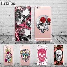 Floral Sugar Skull Case Cover For iphone 6 6S 7 7Plus Silicone Transparent Cell Phone Cases