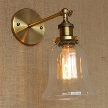 Loft Style Industrial Vintage Wall Light Fixtures Golden Iron Glass Lampshade Antique Lamp Edison Wall Sconce Lampara Pared(China)