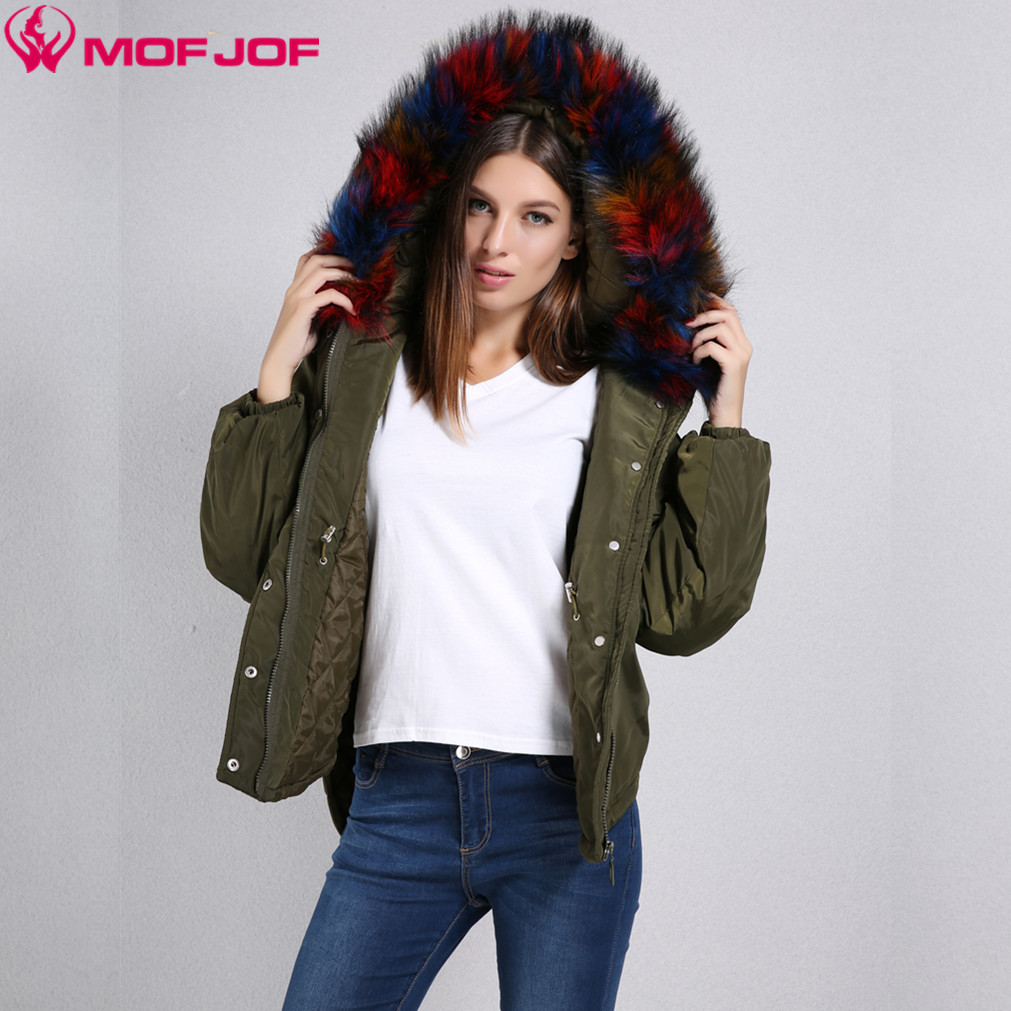 Women Hooded Parka Thin quilted jacket front short back long Dovetail Split Detachable colorful big Artificial Fur Autumn JacketÎäåæäà è àêñåññóàðû<br><br>