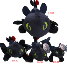 55cm 22cm 33cm 40cm How to Train Your Dragon Toothless Night Fury Soft Stuffed Animal Plush Toys Juguetes de Peluches Bebe(China)