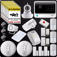 2.4G WiFi GSM GPRS SMS Alarm System Wireless Home House Security System Wifi Camera Gas Detector Panic Button Water Leakage