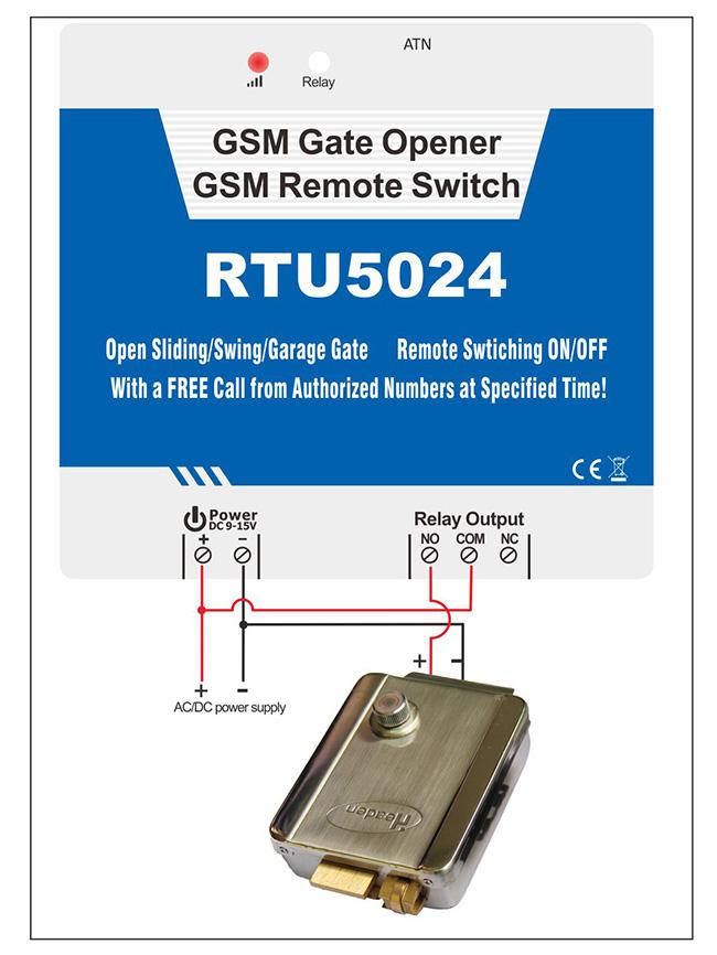 RTU5024 GSM Gate opener Wiring connection with door lock 650