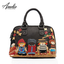 AMELIE GALANTI 2017 new fashion retro bag handmade embroidery doll portable single shoulder bag women bag free shipping