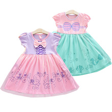 Kids Girl Cute Print Princess Fancy Dress Toddler Baby Girl Tulle Patchwork Short Sleeve O Neck Bowknot Dresses Summer Clothes