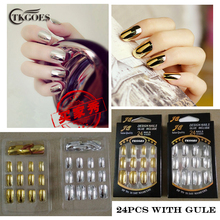 TKGOES 24 PCS NEW Metallic False Artificial Nails Fashion Stiletto Tips Gold Silver Full Metal French Nail Art Tips 12 Size