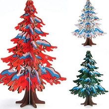 2017 XMAS HOT Lovely Cartoon Wooden Merry Christmas Tree Decorations Christmas Gifts Ornaments XMAS Table Desk Decor for home(China)