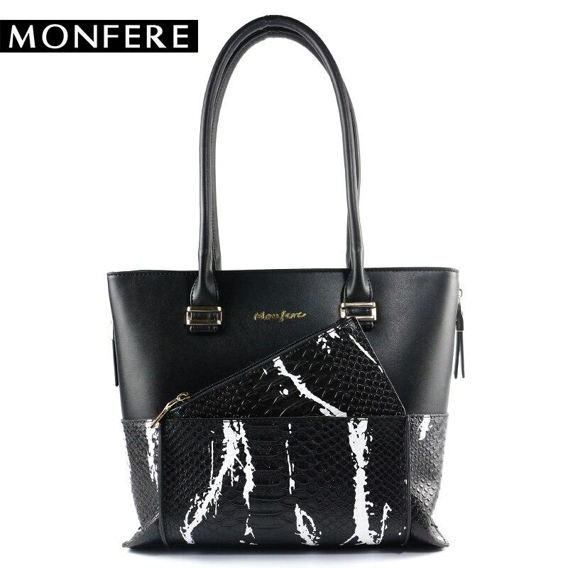 MONFERE Luxury Brand 2018 Fashion Women Handbag  Pu Leather Crocodile Shoulder Bags Large Capacity Casual Zipper Tote Purses Bag<br>