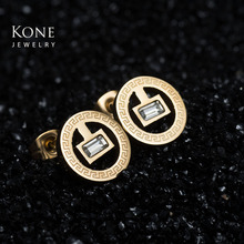 Personalized Creative Pattern Stud Earrings Stainless Steel Earring For Women Birthday Gift Wholesale Drop Ship(China)