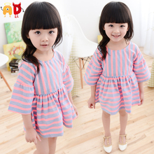 AD 2-6Y Elegant Striped Baby Girls Dresses Flare Sleeve Summer Style Baby Dress Children's Casual Formal Party Dress Clothing