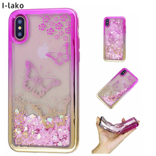 For iPhone X Luxury Electroplate Light Weight Tower Flora Flying Butterfly Glitter TPU Case For iPhone X(China)