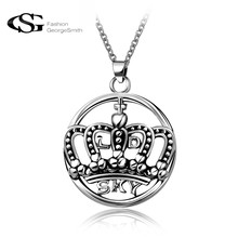 GS 2017 Stainless Steel Puck Pendant Choker Crown Style Stunning Men's Necklace for Men Vintage Gothic Bike Jewelry