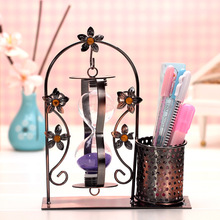 Vintage Art Decoration Decorative Wrought Iron Furniture Pen Hourglass Office Home Accessories Ornaments SandGlass Iron Craft