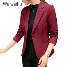 2018 Femmes de Blazer Rose À Manches Longues Blazers Solide Un Bouton Manteau Mince Office Lady Jacket Femme Tops Costume Blazer femme Vestes(China)