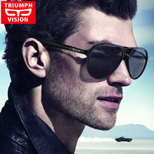 TRIUMPH VISION Aviator Men Sunglasses Black Matt  Plastic Pilot Shades Sun Glasses For Men Driving  Brand Designer Oculos Male