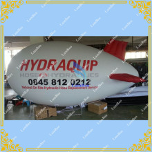 4m/13ft Long White Inflatable Red Fins Airship Blimp Zeppelin with your LOGO for Different Events Digital printing