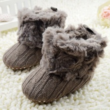 New Baby Shoes Fantastic Infant Baby Crochet Knit Boots Booties Toddler Boys Girls Shoes Winter Snow Crib Shoes Hot(China)