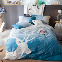 Svetanya Deer print bedding set 100% cotton Bedlinen Queen King size Duvet cover set Blue Color(China)