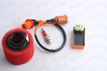 GY6 139QMB 50cc racing performance 6-pin CDI ignition coil + 38mm air filter + spark plug
