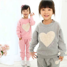 Buy Love Kids Girls Track Suit Clothes Sets Baby Girl Long Sleeve + Pant Set Children Sports Kids Clothing Sets Z224 M09 for $7.99 in AliExpress store