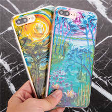 3D Soft TPU back cover watercolour drawing Phone Cases for iPhone 6 6S 6Plus 5 5S SE 7 7Plus case coque for iphohe 5s case