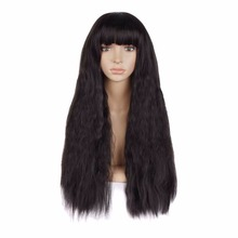 Classic Fashion Womens Lady Natural Long Curly Hair Full Synthetic Wigs Cosplay Party 4 Colors Flat Bangs MapofBeauty