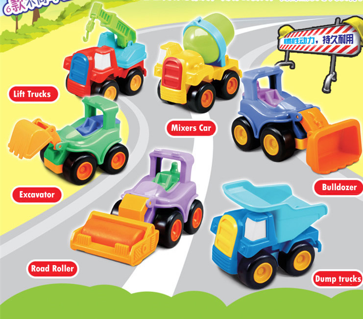 6pcs/Lot Fun Pull Back Car Set hot wheels Toys Construction Trucks Kids Pullback Vehicle Toys(China (Mainland))