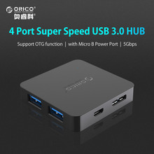 ORICO Super Speed 4 Port USB HUB 3.0 Portable OTG HUB USB Splitter with Micro B Power Port for Apple Macbook Laptop PC Tablet(China)