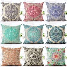 Bohemian Style Flower Printed Cushion Cover Pillow Case Linen Cotton Pillow Covers Plant sofa Car Seat Decorative Pillowcase(China)